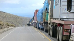 Trucks at Bolivia Border
